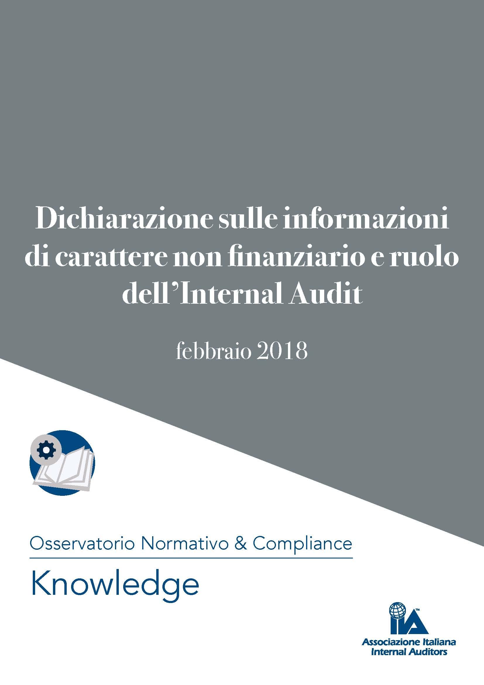 DICHIARAZIONE SULLE INFORMAZIONI DI CARATTERE NON FINANZIARIO E RUOLO DELL'INTERNAL AUDIT (paper Aiia febbraio 2018)